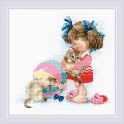 RIOLIS 1833  Les chatons de Kathy  Broderie  Point de croix compté  Aida