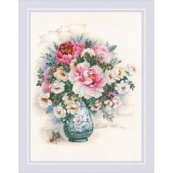 RIOLIS 1816  Pivoines et Roses Sauvages  Broderie  Point de croix compté  Aida