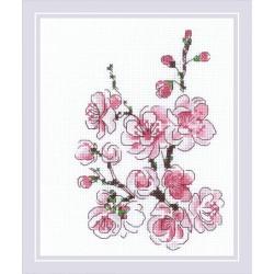 RIOLIS 1818  Branche de Sakura  Broderie  Point de croix compté  Aida
