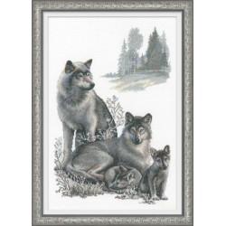 RIOLIS 100-021  Loups  Broderie  point de croix compté