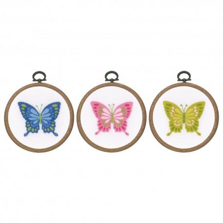 Vervaco 0178195  Papillons  lot de 3  avec cerceau  Broderie imprimé