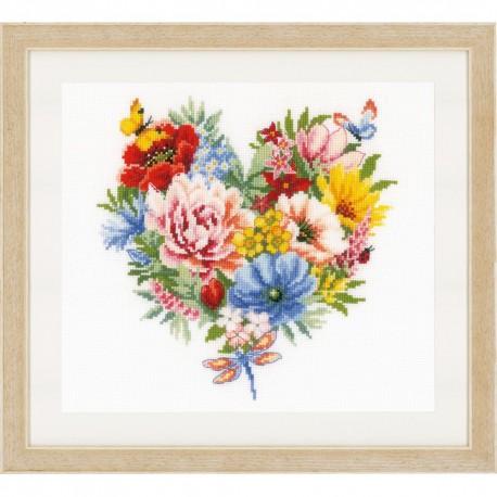 Vervaco 0179766  Cœur de fleurs  Broderie  Point de croix compté