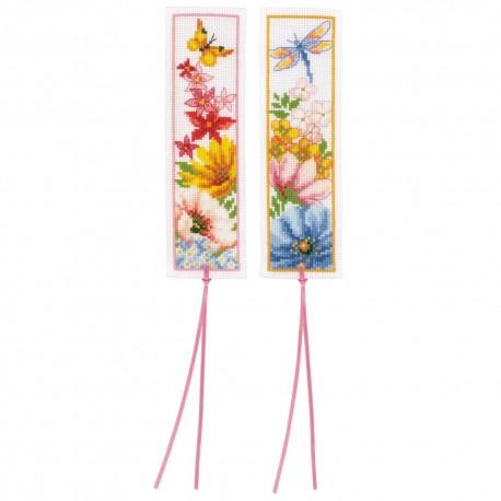 Vervaco 0184423  Marque-page  Fleurs colorées  Broderie  Point de croix compté