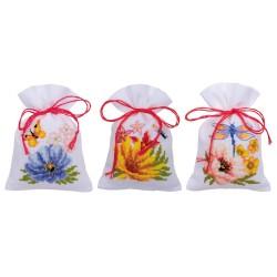 Vervaco 0185083  Sachet  Fleurs colorées  Broderie  Point de croix compté