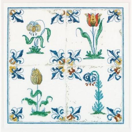 Thea Gouverneur 485  Carreaux Anciennes  Fleurs  Broderie  Point compté  Lin