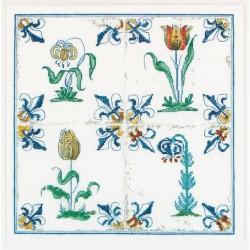 Thea Gouverneur 485A  Carreaux Anciennes  Fleurs  Broderie  Point compté  Aida