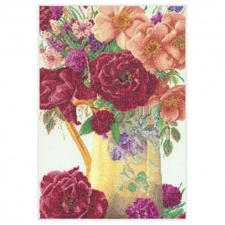 Thea Gouverneur 3019  Bouquet de roses  Broderie  Point compté  Lin