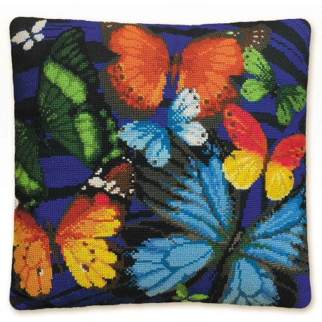 Riolis 1118  Coussin  Papillon bleu  Point compté