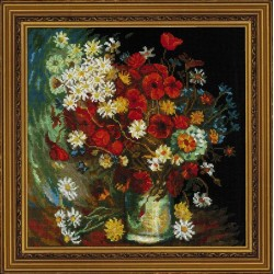 RIOLIS 1591  Nature morte aux fleurs des prés et roses  Point compté