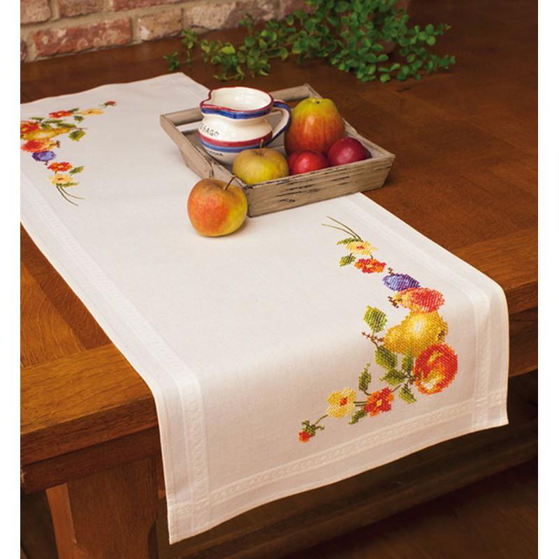 vervaco kit chemin de table imprim e au point de croix. Black Bedroom Furniture Sets. Home Design Ideas
