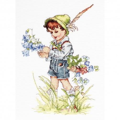 Luca-S B1105  Le petit garçon et les campanules  Kit point de croix
