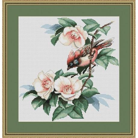 Luca-S B299  Oiseau sur une branche fleurie  Kit point compté