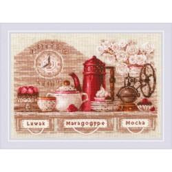 Kit point de croix compté  L'heure du café 1874  Riolis