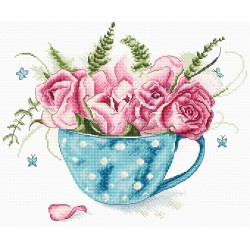 Kit point de croix compté  Une tasse de roses 916  Letistitch