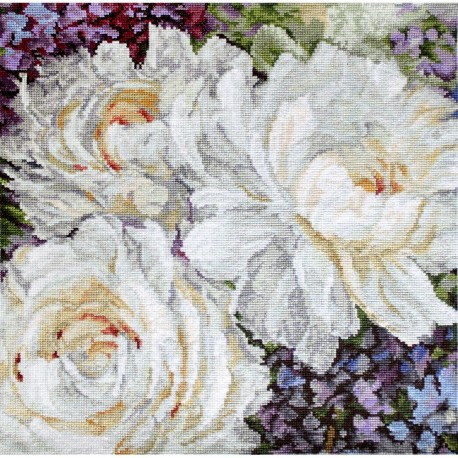 Kit point compté  Roses blanches 930  Letistitch