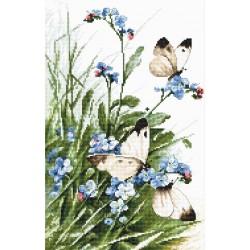 Kit point de croix  Papillons et fleurs bleues 939  Letistitch