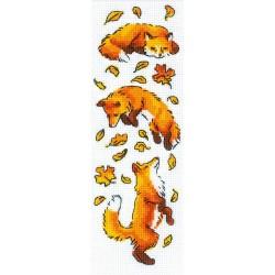 Kit point compté  Renards dans les feuilles 1879  Riolis