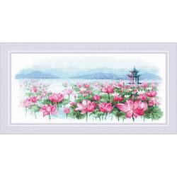Kit point compté  Champ de lotus Pagode sur l'eau 1869  Riolis