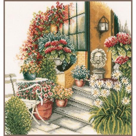 Kit point de croix  Terrasse en fleur d'automne 0008016  Lanarte