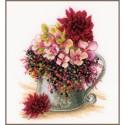 Kit point de croix  Bouquet de fleurs roses 0185110  Lanarte