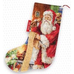 Kit de chaussette de Noël à broder  Liste de Noël PM1232  Luca-S