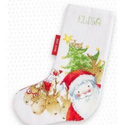 Kit de chaussette de Noël à broder  Rennes de Noël PM1225  Luca-S