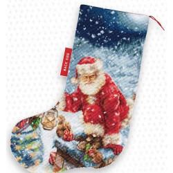 Kit de chaussette de Noël à broder  En route PM1231  Luca-S