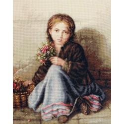 Kit point de croix  Petite fille aux fleurs B513  Luca-S