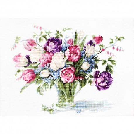 Kit point compté  Vase de tulipes B2261  Luca-S