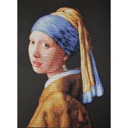 Kit point compté  La jeune fille à la perle B467  d'après  J Vermeer  Luca-S
