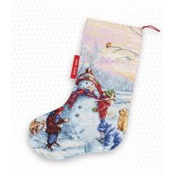 Kit de chaussette de Noël à broder  Bonhomme de neige PM1241  Luca-S