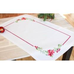 Kit chemin de table  Rose de Noël FM001  Luca-S