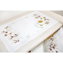 Kit de chemin de table à broder  Fleur de coton FM013  Luca-S