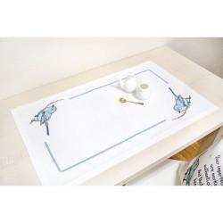 Kit de chemin de table à broder  Oiseau bleu FM016  Luca-S