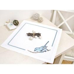 Kit de napperon à broder  Oiseau bleu FM017  Luca-S