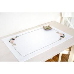 Kit de chemin de table à broder  Composition de fleurs FM020  Luca-S