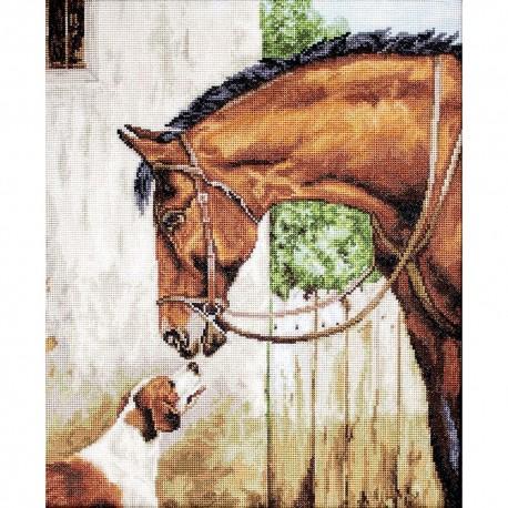 Kit point de croix  Le cheval et la chien B580  Luca-S