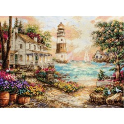 Kit point de croix  Cottage vue sur mer 962  Letistitch
