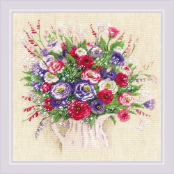 Kit point compté  Bouquet avec Eustoma et Gypsophila 1947  Riolis