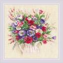 Kit point compté  Bouquet avec Eustoma et Gypsophila 1947  Riolis