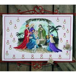 Kit point de croix  Calendrier de l'Avent  Nativité 34-0624  Permin
