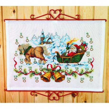 Kit point de croix  Calendrier de l'Avent  Père Noël 34-0225  Permin