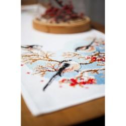 Kit point de croix  Chemin de table  Mésanges et fleurs 0158431  Vervaco