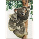 Kit point de croix  Koala avec bébé 0158414  Vervaco