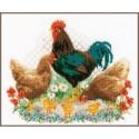 Kit point de croix  Coq et poulets 0170173  Vervaco