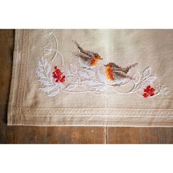 Kit de chemin de table à broder  Rouge-gorge en hiver 0187947  Vervaco