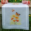 Kit de chemin de table à broder  Fleurs orange et papillons 0187941  Vervaco