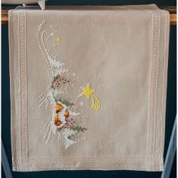 Kit de chemin de table à broder  Paysage d'hiver avec étoile 0180115  Vervaco