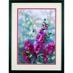 Roses  trémières  en  fleur  11127  Dimensions