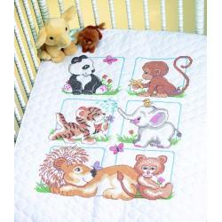 Couverture  piquée  bébés  animaux  13083  Dimensions